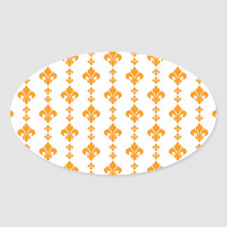 Fleur De Lis 3 Orange Oval Sticker