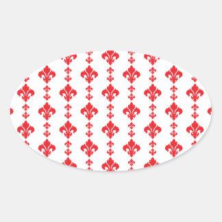 Fleur De Lis 3 Red Oval Sticker