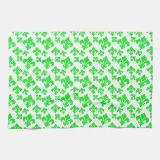 Fleur De Lis 4 Green Kitchen Towels