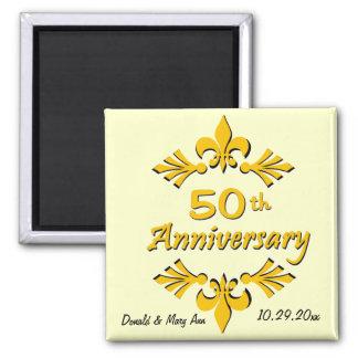 Fleur De Lis 50th Anniversary Party Favors 2 Inch Square Magnet