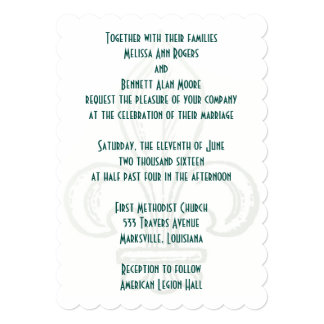 Fleur De Lis 5x7 Wedding Invitation