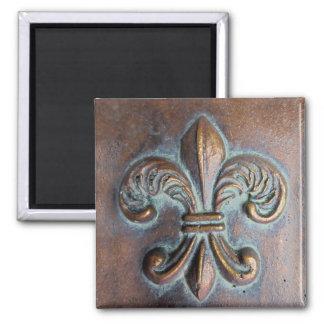Fleur De Lis, Aged Copper-Look Printed 2 Inch Square Magnet