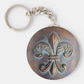 Fleur De Lis, Aged Copper-Look Printed Basic Round Button Keychain