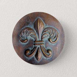 Fleur De Lis, Aged Copper-Look Printed Button