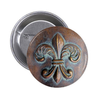 Fleur De Lis, Aged Copper-Look Printed 2 Inch Round Button