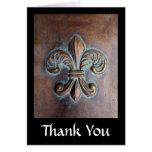Fleur De Lis, Aged Copper-Look Printed Greeting Card