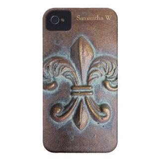 Fleur De Lis Aged Copper-Look Printed iPhone 4 Case-Mate Cases