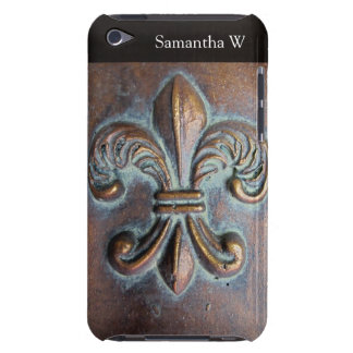 Fleur De Lis Aged Copper-Look Printed Barely There iPod Case