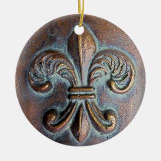 Fleur De Lis, Aged Copper-Look Printed Ceramic Ornament