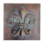 Fleur De Lis, Aged Copper-Look Printed Ceramic Tile