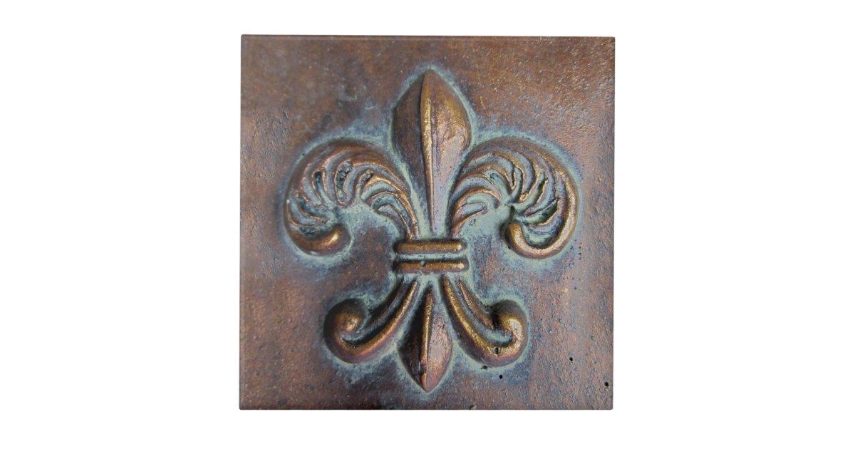 Fleur De Lis Aged Copper Look Printed Ceramic Tile