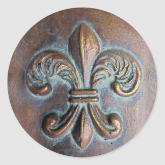 Fleur De Lis, Aged Copper-Look Printed Classic Round Sticker