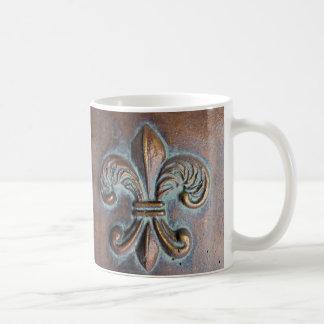 Fleur De Lis, Aged Copper-Look Printed Coffee Mug
