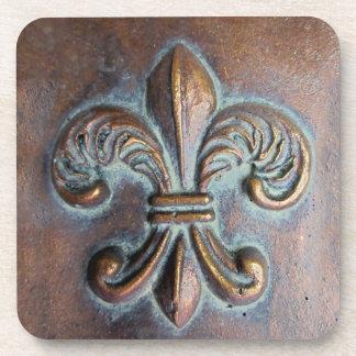Fleur De Lis, Aged Copper-Look Printed Coaster