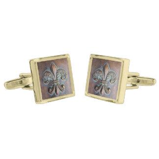 Fleur De Lis, Aged Copper-Look Printed Cufflinks