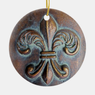 Fleur De Lis, Aged Copper-Look Printed Double-Sided Ceramic Round Christmas Ornament