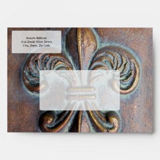 Fleur De Lis, Aged Copper-Look Printed Envelope