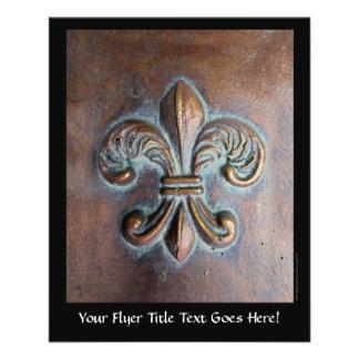"""Fleur De Lis, Aged Copper-Look Printed 4.5"""" X 5.6"""" Flyer"""