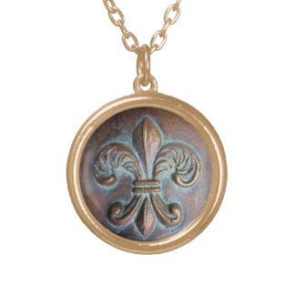 Fleur De Lis, Aged Copper-Look Printed Gold Plated Necklace