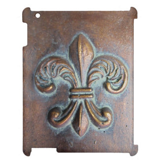 Fleur De Lis, Aged Copper-Look Printed iPad Cover