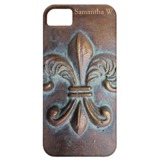 Fleur De Lis, Aged Copper-Look Printed iPhone SE/5/5s Case
