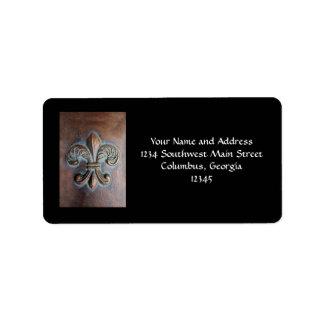 Fleur De Lis, Aged Copper-Look Printed Address Label