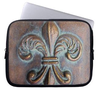 Fleur De Lis, Aged Copper-Look Printed Laptop Sleeves