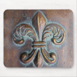 Fleur De Lis, Aged Copper-Look Printed Mouse Pad