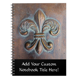 Fleur De Lis, Aged Copper-Look Printed Spiral Note Books