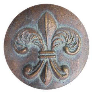 Fleur De Lis, Aged Copper-Look Printed Plates