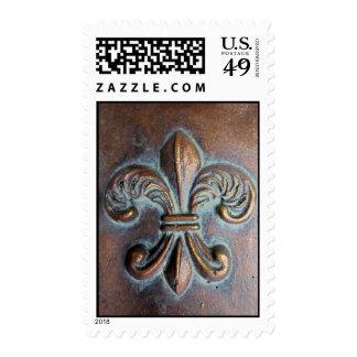 Fleur De Lis, Aged Copper-Look Printed Postage Stamp