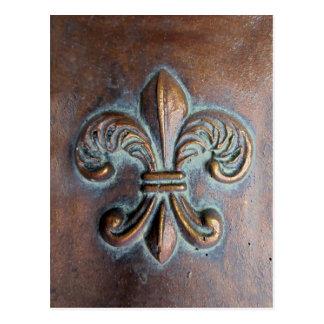 Fleur De Lis, Aged Copper-Look Printed Postcards
