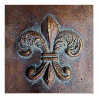 Fleur De Lis, Aged Copper-Look Printed Print