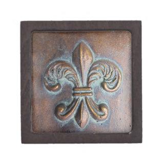 Fleur De Lis Aged Copper-Look Printed Premium Trinket Boxes