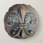 Fleur De Lis, Aged Copper-Look Printed Round Pillow