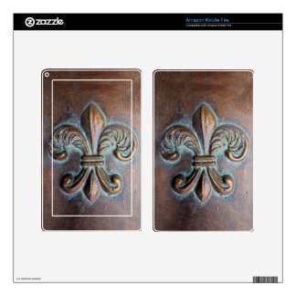 Fleur De Lis, Aged Copper-Look Printed Skins For Kindle Fire