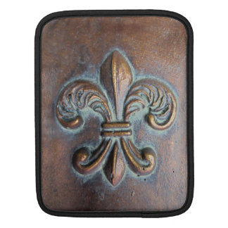 Fleur De Lis, Aged Copper-Look Printed Sleeve For iPads