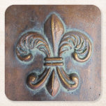 Fleur De Lis, Aged Copper-Look Printed Square Paper Coaster