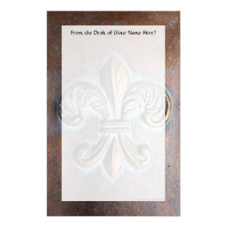 Fleur De Lis, Aged Copper-Look Printed Stationery
