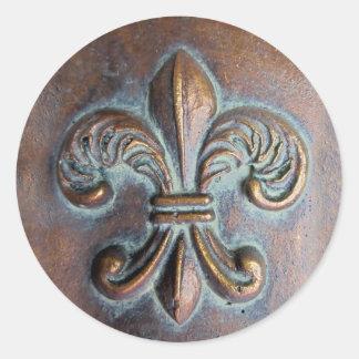 Fleur De Lis, Aged Copper-Look Printed Classic Round Sticker