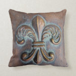 Fleur De Lis, Aged Copper-Look Printed Throw Pillow