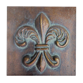 Fleur De Lis, Aged Copper-Look Printed Small Square Tile