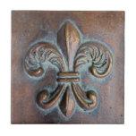 Fleur De Lis, Aged Copper-Look Printed Ceramic Tiles