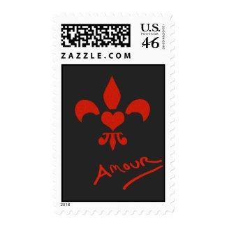 Fleur de Lis Amour Love Postage Stamp