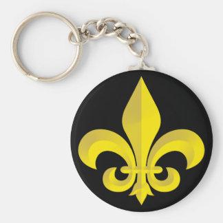 Fleur De Lis Art Gold Basic Round Button Keychain