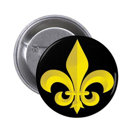 Fleur De Lis Art Gold Button