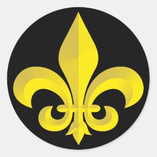Fleur De Lis Art Gold Round Sticker