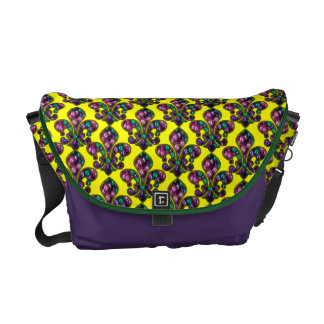 Fleur de Lis Beads Mardi Gras Themed Messenger Bag