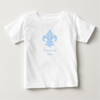 Fleur de Lis bébé™ Baby/Toddler T-Shirt White/Blue