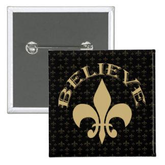 Fleur de Lis Believe Black Gold 2 Inch Square Button